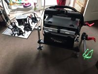Maver Pro Fishing Seatbox w/ Tray, Rests & Extra Reels - Immaculate Condition