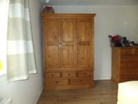 Pine Triple wardrobe with drawers underneath