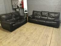 BLACK LEATHER SOFA SET 3+2 SEATER USED IN GOOD CONDITION
