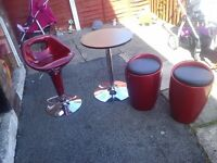 EXTENDABLE SMALL TABLE WITH 2 STOOLS AND HIGH CHAIR - £35