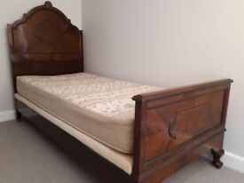 Edwardian wooden single bed with mattress