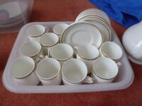 11 off Wedgewood Tuscan gold banded coffe cups and saucers
