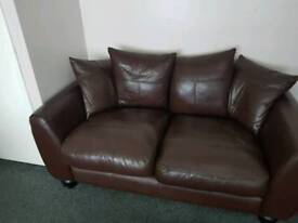 2 and 3 seater leather couches
