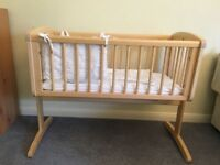 Mothercare Swinging Crib / Cot - Natural wood colour