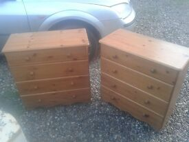 "WOODEN PINE CHEST OF DRAWERS,27W"" X 29H"" 4 DRAWER CABINET UNIT STORAGE-REAL WOOD 2 AVAILABLE. GWO"