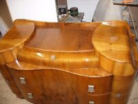 walnut dressing table, chest of drawers, a cloud shape dresser-Art Deco style by Supersuite c.1960