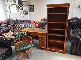 Fantastic vintage captains chair desk and bookcase chesterfield UK delivery