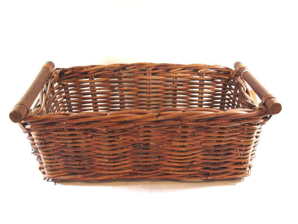 "4 Ikea Bastant Wicker Basket with Handles 21.5"" x 11.75"""