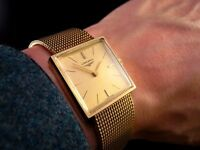 Stunning BOXED ALL SOLID GOLD 1974 SLIM Vintage Retro LONGINES Mens MINIMALIST Dress Watch