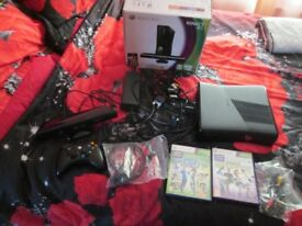 XBOX 360 4 GB CONSOLE + KINECT BOXED + 2 GAMES WHICH ARE KINECT SPORTS 1 AND 2 BOTH BOXED