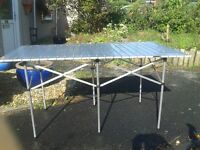Roll up alluminium camping table approx 140cm x70cm light but strong