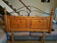 4ft6 solid pine and wrought iron headboard