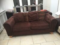 2 x 3 seater sofas in chocolate brown