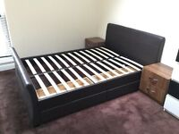 Double bed with 4 drawers with wheels