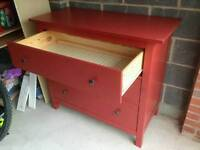 Red chalk paint finish IKEA Hemnes chest of drawers