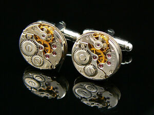 CUFFLINKS-VINTAGE-BESPOKE-RETRO-STEAMPUNK-WATCH-MOVEMENT