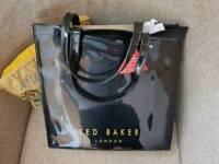 Ted baker large black patent bag new