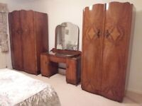 Walnut Wood Men's and Ladies' Wardrobes and Dressing Table with Mirror (Used)