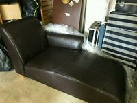 Lovely Dark Brown Leather Bedroom / Sitting Room Sofa / Chaise Longue
