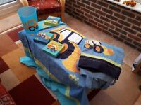 Boys digger bedroom furniture inc quilt, curtains, bin, rug, cushion, pictures, toys