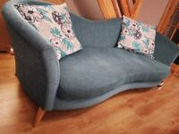DFS Twirl 4-seater blue sofa free to collector