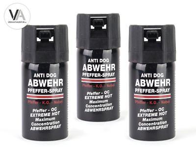 3x Pfefferspray ANTI DOG Abwehrspray Tierabwehr Selbstverteidigung 3 x 40ml