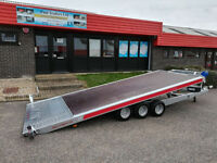 NEW FLAT BED CAR TRAILER TRI AXLE TILT BED 5m x 2m 16FT x 6FT 3500kg