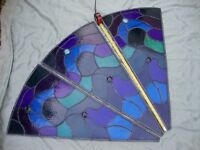 "Three Vintage Stained Glass Window Segments.( 33"" x 18"")."