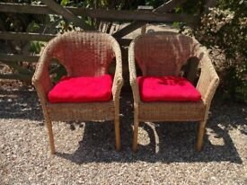 2 LARGE WICKER GARDEN CHAIRS WITH CUSHIONS --
