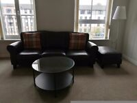 Sofa, foot stool, coffee table and lamp