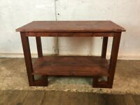 Retro Art Deco Style Solid Wooden Dark Brown Coffee Side Table