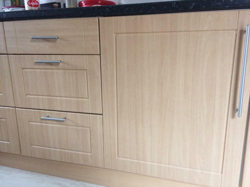 Bq It Kitchen Doors Beech Style Bq Kitchen Doors With Handles In Great Notley