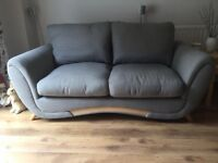 Grey fabric 2 Seater sofa,single seater & storage footstall