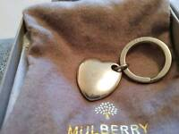 Mulberry Silver Metal Heart Keyring