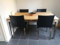 Wooden Chrome Dining Table and 4 Leather Chairs Set