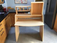 Work Desk and chair - Light wood desk ideal for students with light blue wheeled chair.