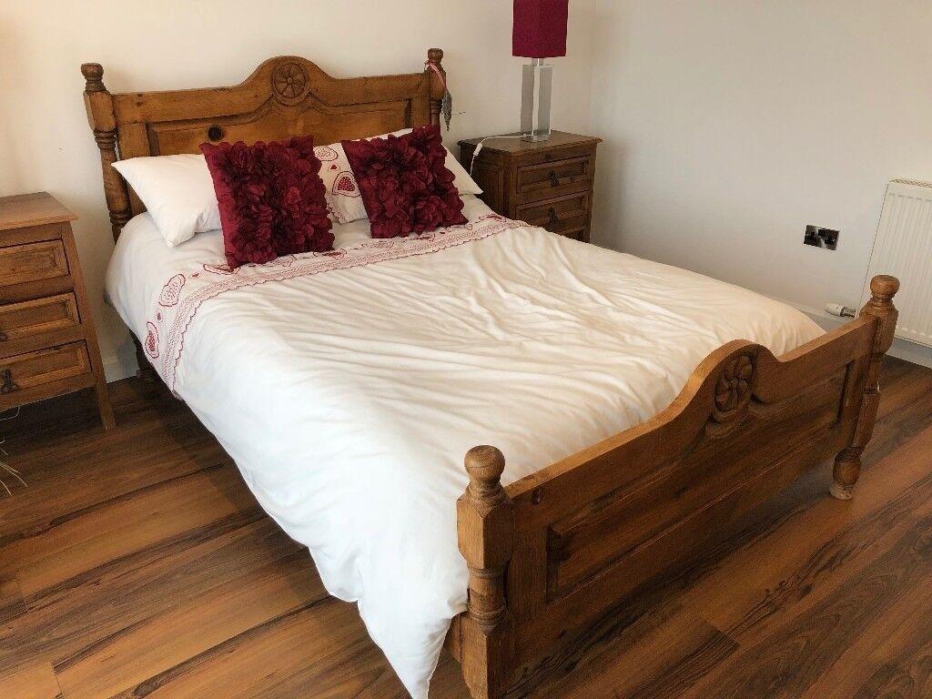 Solid Oak Bedroom Furniture Double Bed 2 X 3 Drawer Bedside Cabinets 8 Dresser