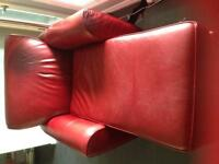 Red Leather Chaise-Style Chair