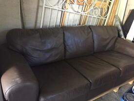 3 seater Brown faux leather settee