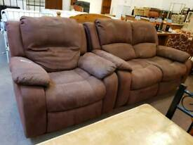 Suede fabric two seater recliner with matching armchair