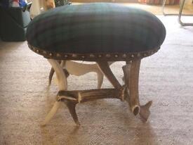 Vintage antler foot stool