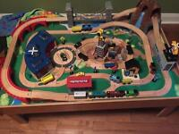 Train table with trains