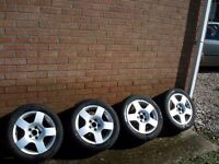 """Alloys Wheels for Audi will fit other makes "" VW/SEAT/ T4"" only asking £55 for the set"