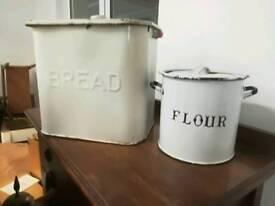 Enamel bread and flour tins