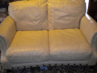 SOFA 2 SEATER CREAM LEATHER