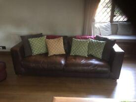 Leather sofa brown good quality sturdy comfy