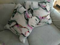 2 large sofa cushions TKMaxx unusual arty print