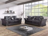 NEW SHANNON 3+2 SOFA SET INC CHROME FEET & FOAM SEATS FOR £359.99. ..INCLUDES FREE DELIVERY !!!