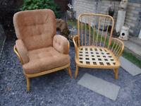 Pair of Ercol Jubilee Blond Armchairs - new webbing