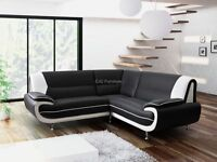 CORNER SOFA SUITE IN BLACK/RED AND BLACK/WHITE
